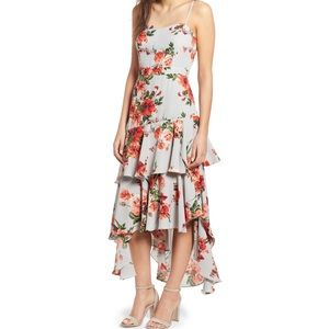 Leith Floral High Low Ruffle Valentines Day Dress